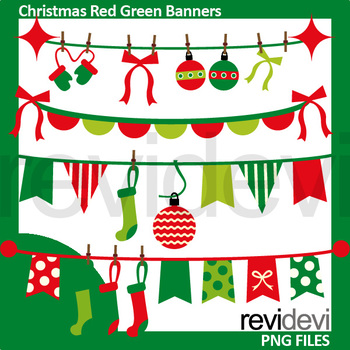 Christmas clip art / red green bunting banners clipart