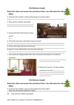 Christmas clip viewing + solution sheet