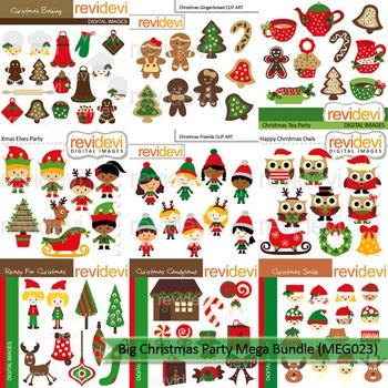 Christmas clipart: Christmas Kids Party clip art Mega bundle (9 packs)