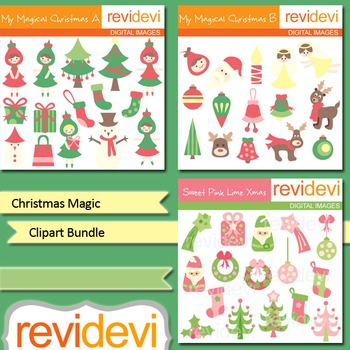 Christmas clipart: Christmas Magic clip art bundle (3 packs)