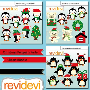 Christmas clipart: Christmas Penguins Party Clip Art Bundle (3 packs)