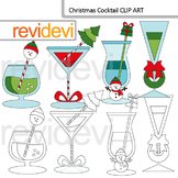 Christmas clipart: Christmas cocktail clip art - commercial use