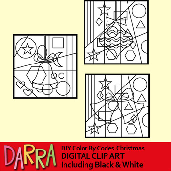 Christmas clipart / DIY color by codes