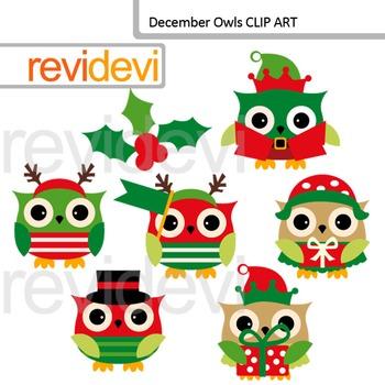 Christmas clipart: December owls clip art
