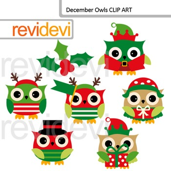 Christmas clipart: December owls clip art