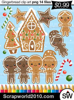 Christmas clipart Gingerbread SALE 14 files