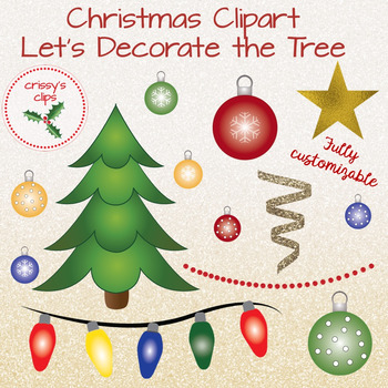 "Christmas clipart  "" Let's decorate the tree."""