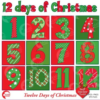 Christmas clipart, Twelve Days of Christmas Numbers AMB-353