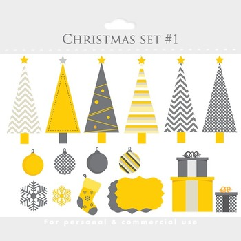 Christmas clipart and paper set - clip art, digital papers for scrapbooking