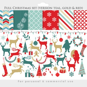 Christmas clipart and papers - reindeer clip art santa deer trees ornaments