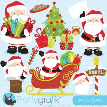 Christmas clipart commercial use,Santa Claus vector graphics - CL607