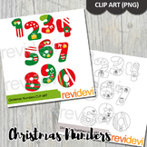Christmas clipart numbers bundle