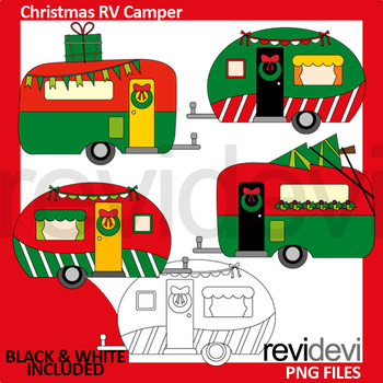 Christmas clipart red green / Christmas RV camper clip art / caravan