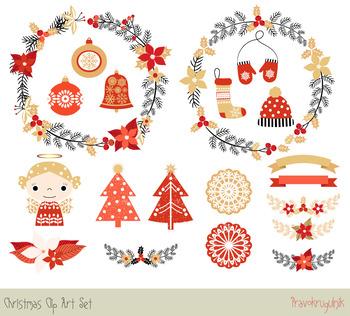 Christmas clipart set, Christmas wreaths clipart, Ornaments, angel, tree, laurel