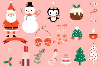 Christmas Clip Art Cute.Christmas Clipart Set Cute Santa Claus Clip Art Winter Holiday Penguin