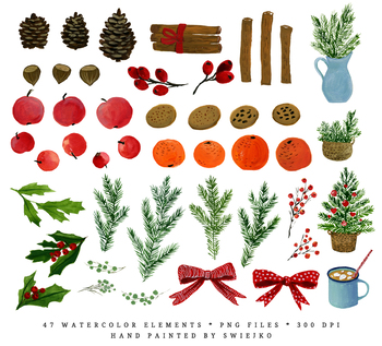 Christmas clipart set, christmas tree, pine branches, nuts, cinamon, pine cones