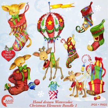 Christmas clipart watercolor, Christmas Reindeer, Christmas elements, 1 AMB-1461