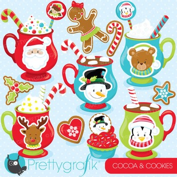 Christmas cocoa & cookies clipart commercial use, vector,