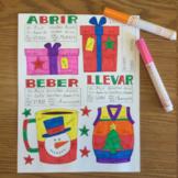 Christmas color by conjugation -AR -ER -IR Spanish verbs no prep printable