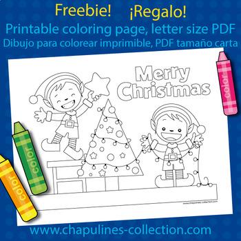 Christmas coloring page, elves decorating Christmas tree, printable, Freebie