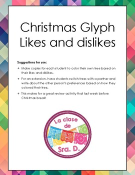 Spanish Christmas coloring with likes and dislikes
