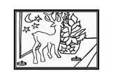 Christmas colouring in or art activity - reindeer and tree