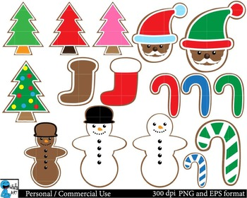 Christmas cookies Set Clipart - Digital Clip Art Graphics - 61 images cod50