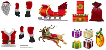 Christmas craft printable Santa Claus, reindeer and snowmen cut out crafts pdfs