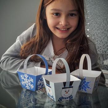 Winter crafts activities printable treat/crayon baskets
