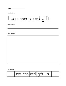 Christmas cut up sentences, language arts, common core