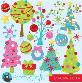 Christmas decorations clipart commercial use, vector, digi