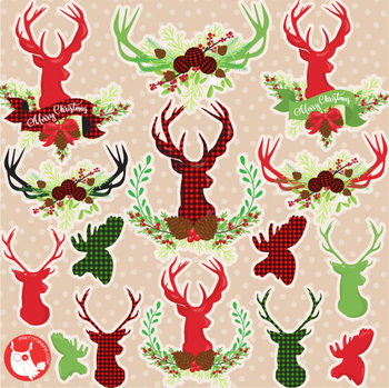 Christmas deer characters clipart commercial use, graphics, digital  - CL1195