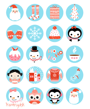 Christmas digital collage sheet download, Round cute circles clipart Santa Owl
