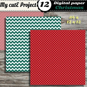 Christmas digital paper - Stripes, chevron, polka dots in christmas colors