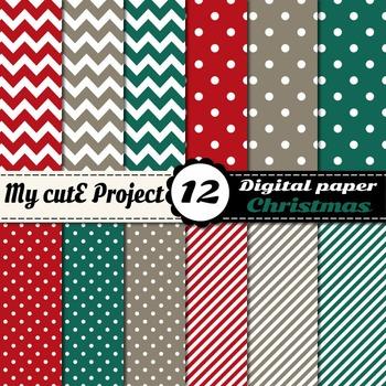 Christmas digital paper - Stripes, chevron, polka dots in
