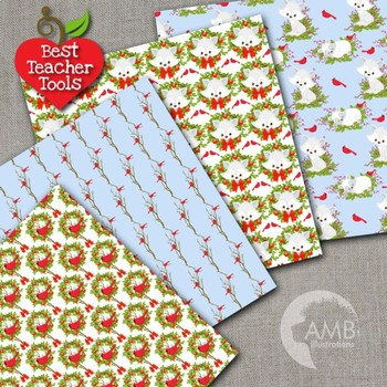 Christmas Digital Papers, Winter Fox Papers, Cardinal and Foxes, AMB-2302