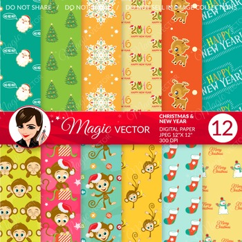 Christmas digital paper, commercial use, scrapbook papers, background