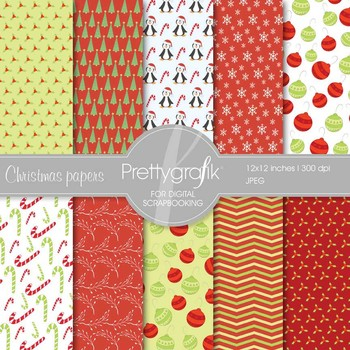 Christmas digital paper, commercial use, scrapbook papers, background - PS557
