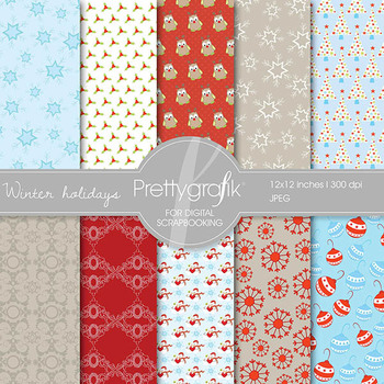 Christmas digital paper, commercial use, scrapbook papers, background - PS559