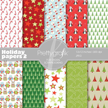 Christmas digital paper, commercial use, scrapbook papers, background - PS560