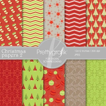 Christmas digital paper, commercial use, scrapbook papers, background - PS561