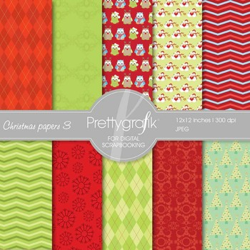 Christmas digital paper, commercial use, scrapbook papers, background- PS562