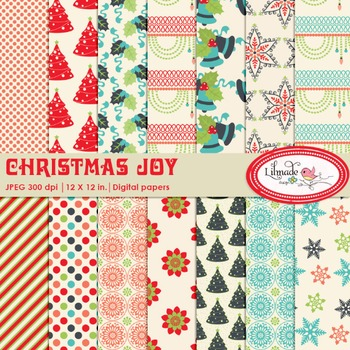 Christmas digital papers, Christmas backgrounds 2