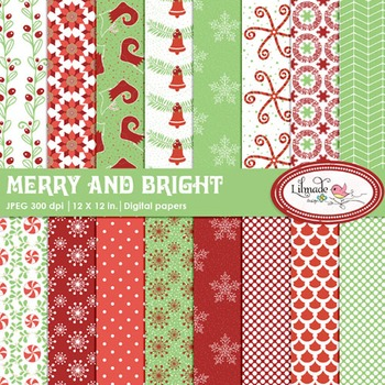 Christmas digital papers, Christmas backgrounds