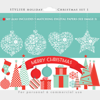 Christmas digital papers and clipart - clip art, trees, ornaments, holiday