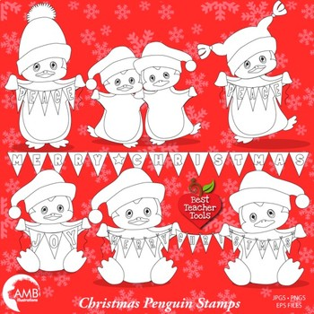 Clipart, Digital stamps, Baby Penguins, Christmas line drawing, AMB-1130