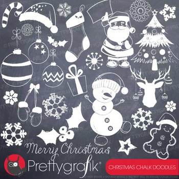 Christmas doodles clipart commercial use, vector graphics, digital - CL743