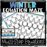 Winter Christmas equation maze, multi-step equations *dist