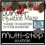 Christmas equation maze, multi-step equations