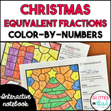 Christmas equivalent fraction color-by-number FREEBIE